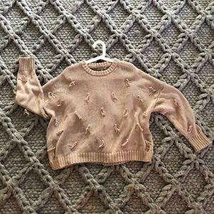 Madewell cotton tassel sweater in light pink